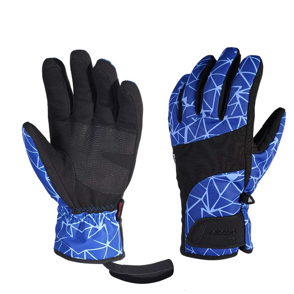 EXTR ANT Ski Gloves Waterproof Finger Gloves Autumn and Winter Sports Gloves, Touch Screen Cold Gloves (Color : Blue, Size : L) by EXTR ANT