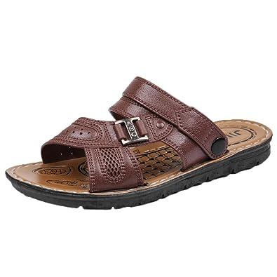 Schuhe Hinten Offen Herren Strand Sommer Hausschuhe Leder