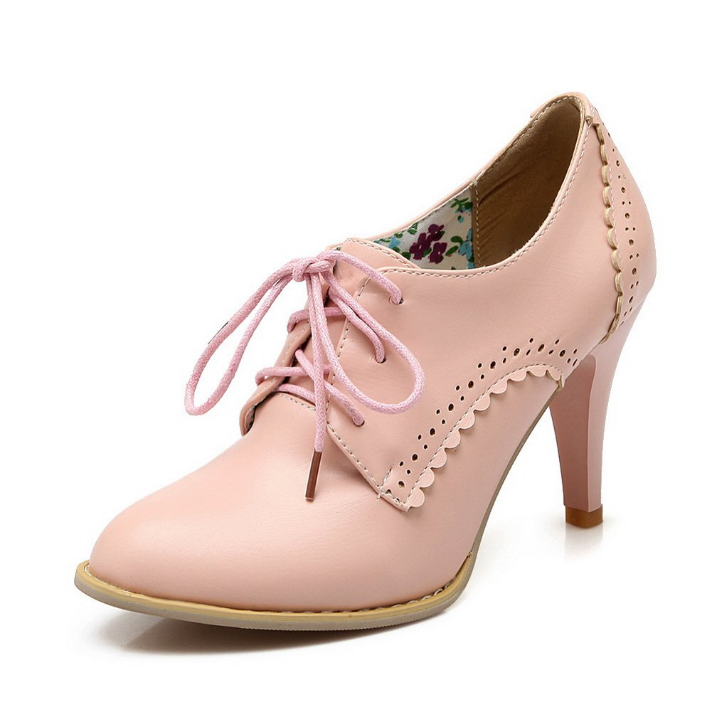 BalaMasa Ladies Solid Buckle High-Heels Pink Rubber Pumps-Shoes - 6 B(M) US