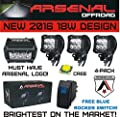 """New 2016 Design 4x 4"""" ARSENAL OFFROAD INC TM 18W 6 CREE LED Brightest on the Market! SUV Off-road Trucks Boats Jeep RZR Tractor Headlight Spot Driving Fog Light + DUAL Mounting Brackets FREE LASER BLUE ROCKER SWITCH WITH PURCHASE!"""