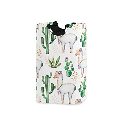 "HousingMart 22.7""(H) Collapsible Laundry Hamper Cute Animal Llama Cactus Laundry Basket Organizer Large with Handle Foldable Clothes Hamper: Home & Kitchen"