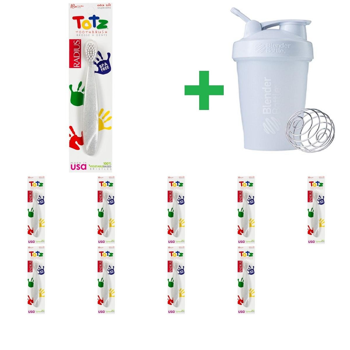 RADIUS, Totz Toothbrush, 18 + Months, Extra Soft, Clear Sparkle(10 Packs)+ Assorted Sundesa, BlenderBottle, Classic With Loop, 20 oz by RADIUS