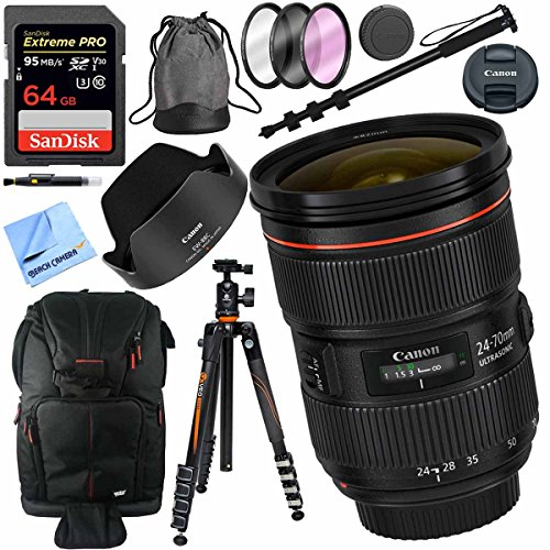 Canon EF 24-70mm f/2.8L II USM Lens with Vanguard Tripod Plus 64GB Accessories Bundle by Beach Camera