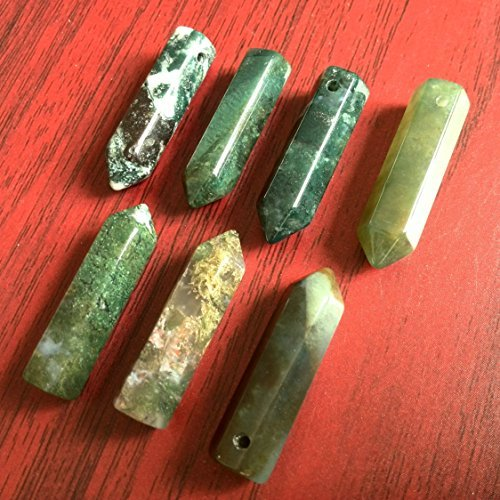 Green Obelisk (Bolin - Natural Green Moss Agate Point Healing Chakra Hexagonal Point Focal Bead Jasper Onyx Long Faceted Point Beads 8mmx30mm - 1)