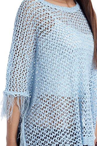 Q2 Mujer Poncho capa con flecos azul