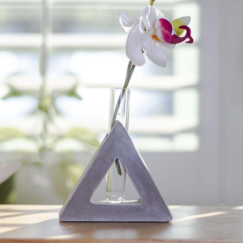 Frank Lloyd Wright Design Inspired Polished Concrete Organic Element Basic Shape Glass Vase Tube Flower Bud Vase Home Decorative Accent Wedding Centerpiece Hotel Office Home Decor (Small Triangle)