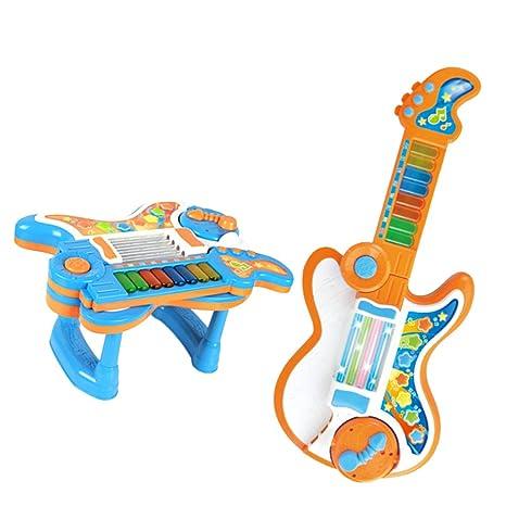 MagiDeal Juegos de Animales Figuras Instrumento Musical Piano 2 en 1 para Guitarra Doblada Eléctrico Niños