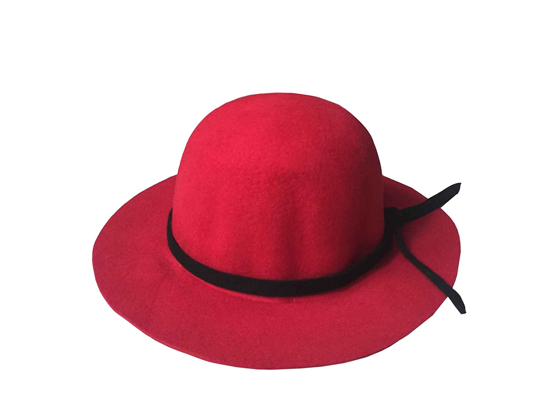 ACVIP Women Wool Felt Wide Brim Round Crown Cap Bowler Hat Red at Amazon  Women s Clothing store  37bd82026d31