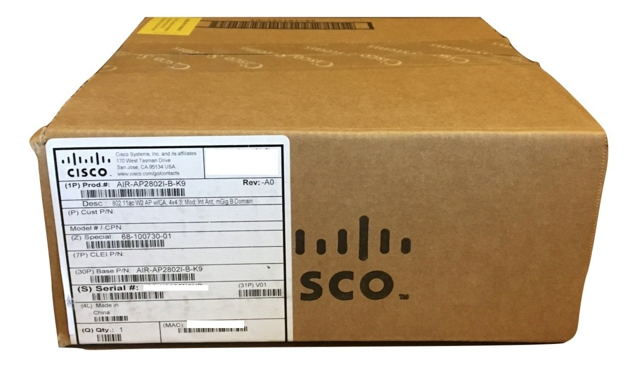 Cisco Aironet Wireless Access Point - AIR-AP2802I-B-K9 (3 MU-MIMO Streams, 2.4GHz and 5GHz Radios, Wave 2, 802.3at PoE) by Cisco Systems