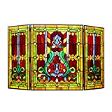 "Chloe Lighting 3pcs Folding Victorian 44"" Wide Tiffany-Glass Fireplace Screen"