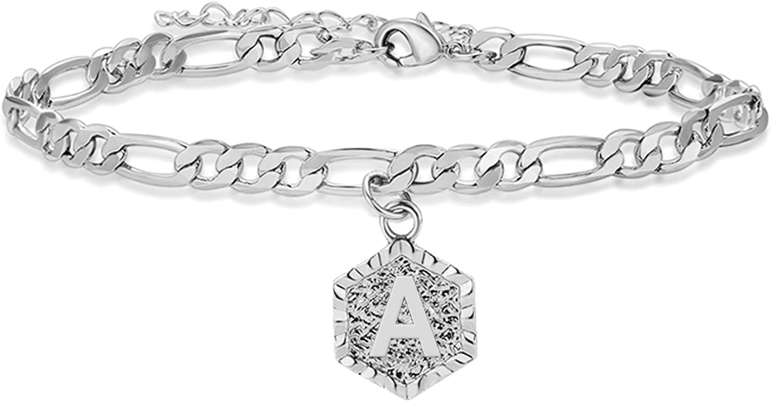 HUASAI Silver Initial Anklets for Women Anklets for Girls Silver Letter Anklet Alphabet Foot Chain Jewelry