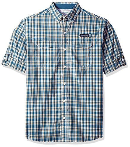 Columbia Mens Super Low Drag Long Sleeve Shirt, Blue Heron Plaid, Large