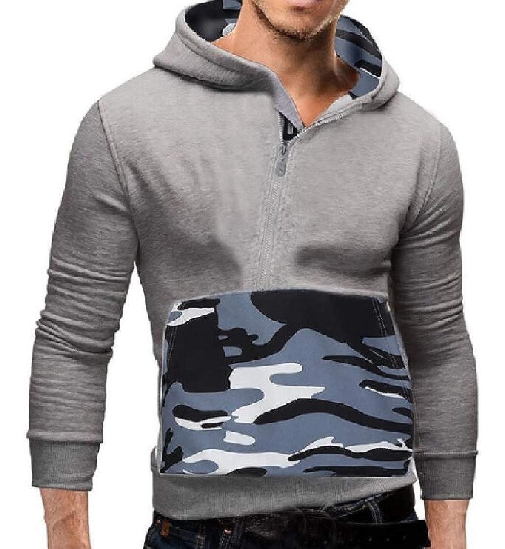 Nanquan Men Stitch Pullover Long Sleeve Half-Zipper Camo Hoodies Sweater Shirt