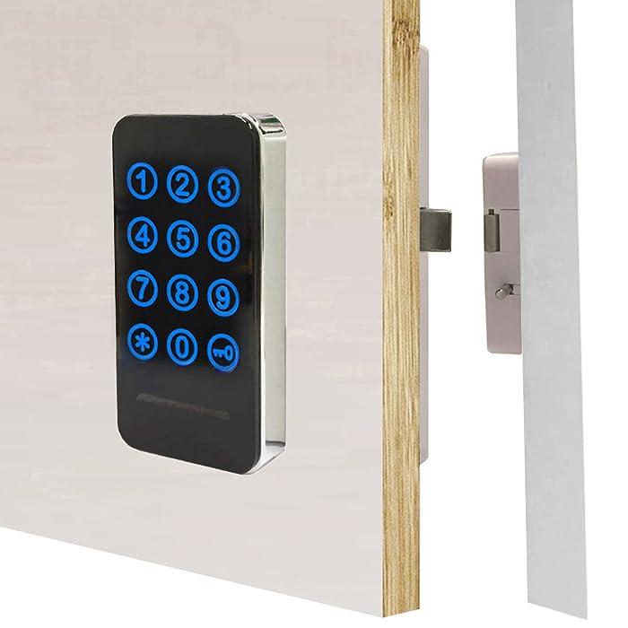 Electronic Cabinet Lock Kit Set, Digital Touch Keypad Lock, Password Entry and RFID Card / Wristband Entry, Keyless Door Lock Knob
