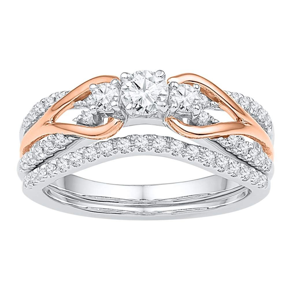 14kt White Gold Wedding Ring Set Rose-tone Womens Diamond Knot 5/8 Cttw(H-I,I1-I2)