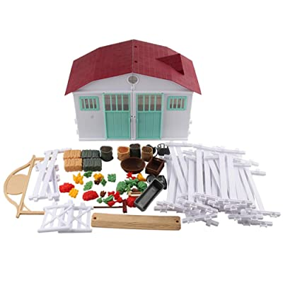 YESZ Assembled Farm Model Toys Farm House Building Game Simulation Model Children Kids DIY Fence Stall Play Toy - White: Toys & Games