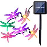 Icicle Dragonfly Solar String Lights, 16ft 20 LED 8 Modes Waterproof Fairy Lighting for Indoor/Outdoor, Garden, Patio, Wedding, Party and Holiday Decorations (Multi Color)