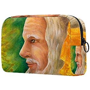 Inhomer Wise Senior Druid Portrait Makeup Bag Toiletry Bag for Women Skincare Cosmetic Handy Pouch Zipper Handbag