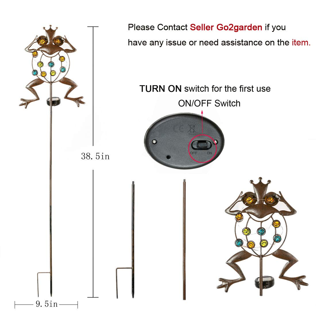 Go2garden Solar Garden Lights, Stake Light Metal Frog Outdoor Decoration, LED Waterproof Landscape Lights for Yard, Lawn Decor (Rustic)