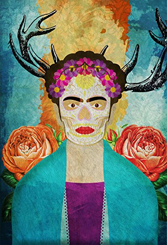 Frida Kahlo Mexican Retro Portrait Illustration Art Print Vintage Giclee on Cotton Canvas or Paper Canvas Poster Wall Decor