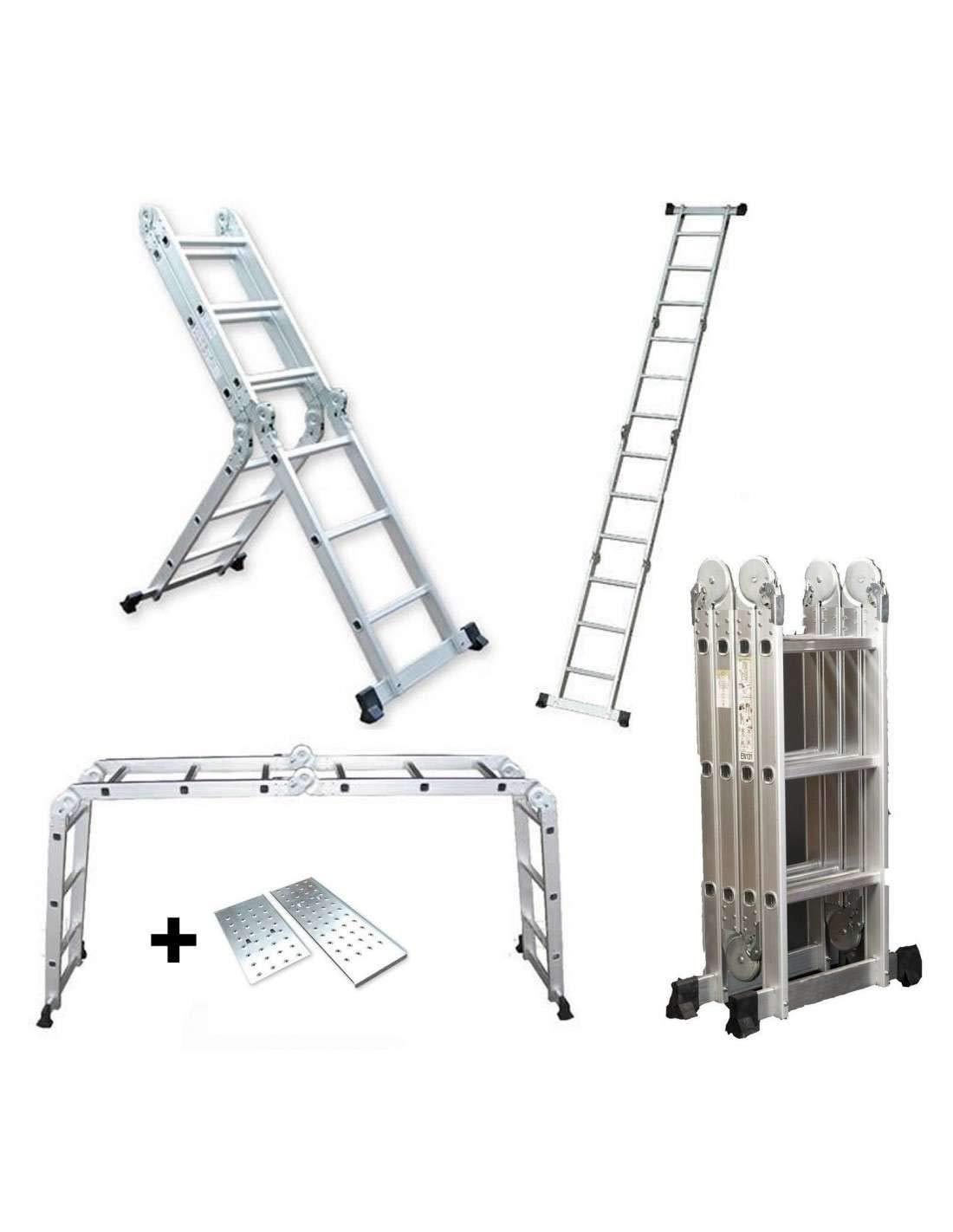 Escalera Multifunci/ón de aluminio 5,75M Plegable 6 en 1 Multiuso con Plataforma AG//DLM-105-PL Grandmaster