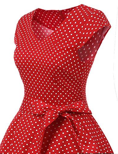 Red avec White col Cocktail Dot V Vintage de Ceinture Gardenwed annes 50 soire Classique Robe Manches Courtes Small Fq78Wa6