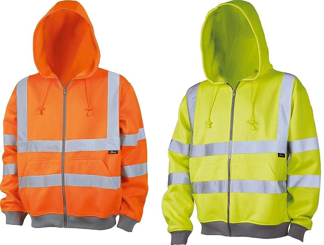Warnschutz-Kapuzenjacke Warnschutz-Sweatjacke mit Kapuze orange oder gelb Gr.S-3XL vizwell