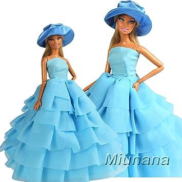 Miunana 1x Vestido Ropa Vestir de Fiesta con 1 Sombrero Accesorios como Regalo para Muñeca Barbie
