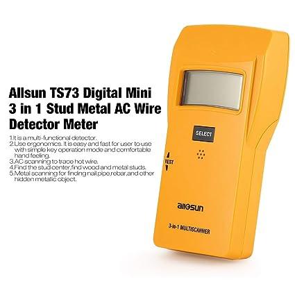Gugutogo Allsun Ts73 Digital Mini 3 en 1 Stud Metal AC Detector de Cable Medidor Probador