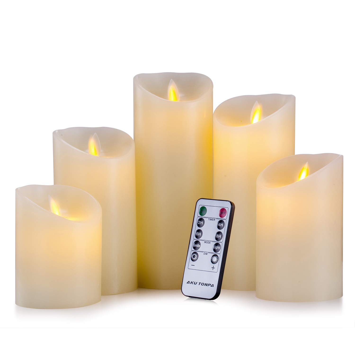 Aku Tonpa Flameless Candles Battery Operated Pillar Real Wax Flickering Moving Wick Electric LED Candle Gift Set with Remote Control Cycling 24 Hours Timer, Pack of 5 (H:4'' 5'' 6'' 7'' 8'')