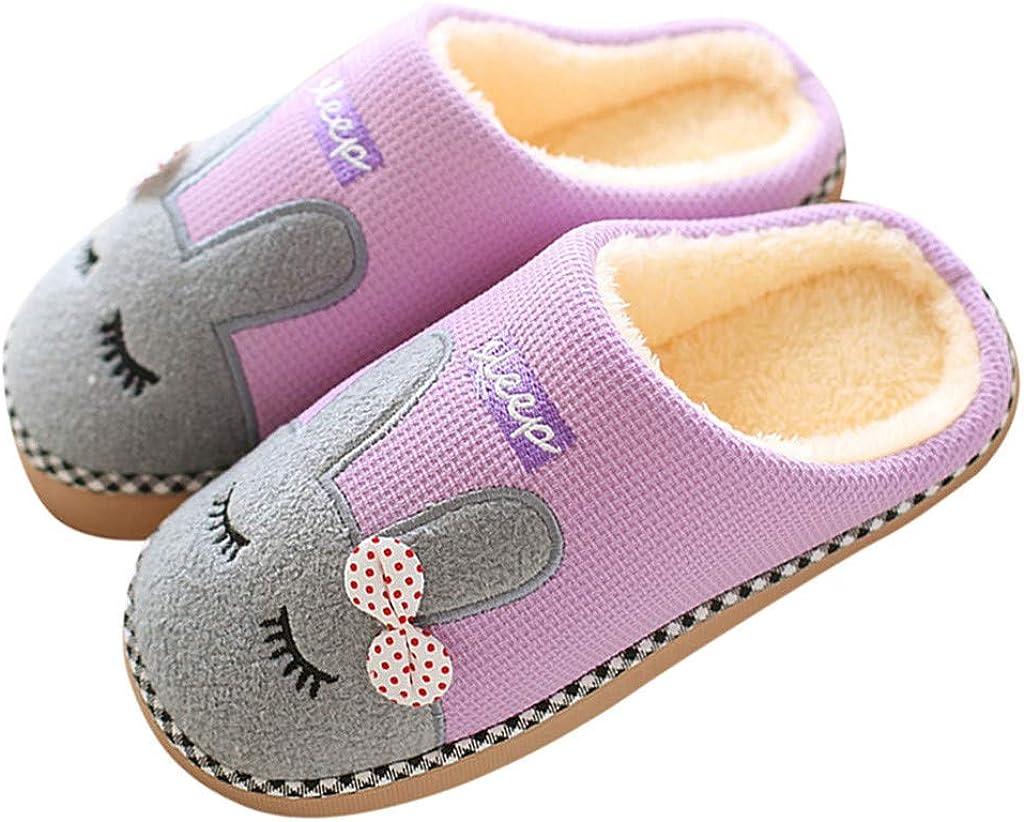 Boys Girls Warm House Slippers Toddler Kids Fur Lined Indoor Bedroom Shoes US