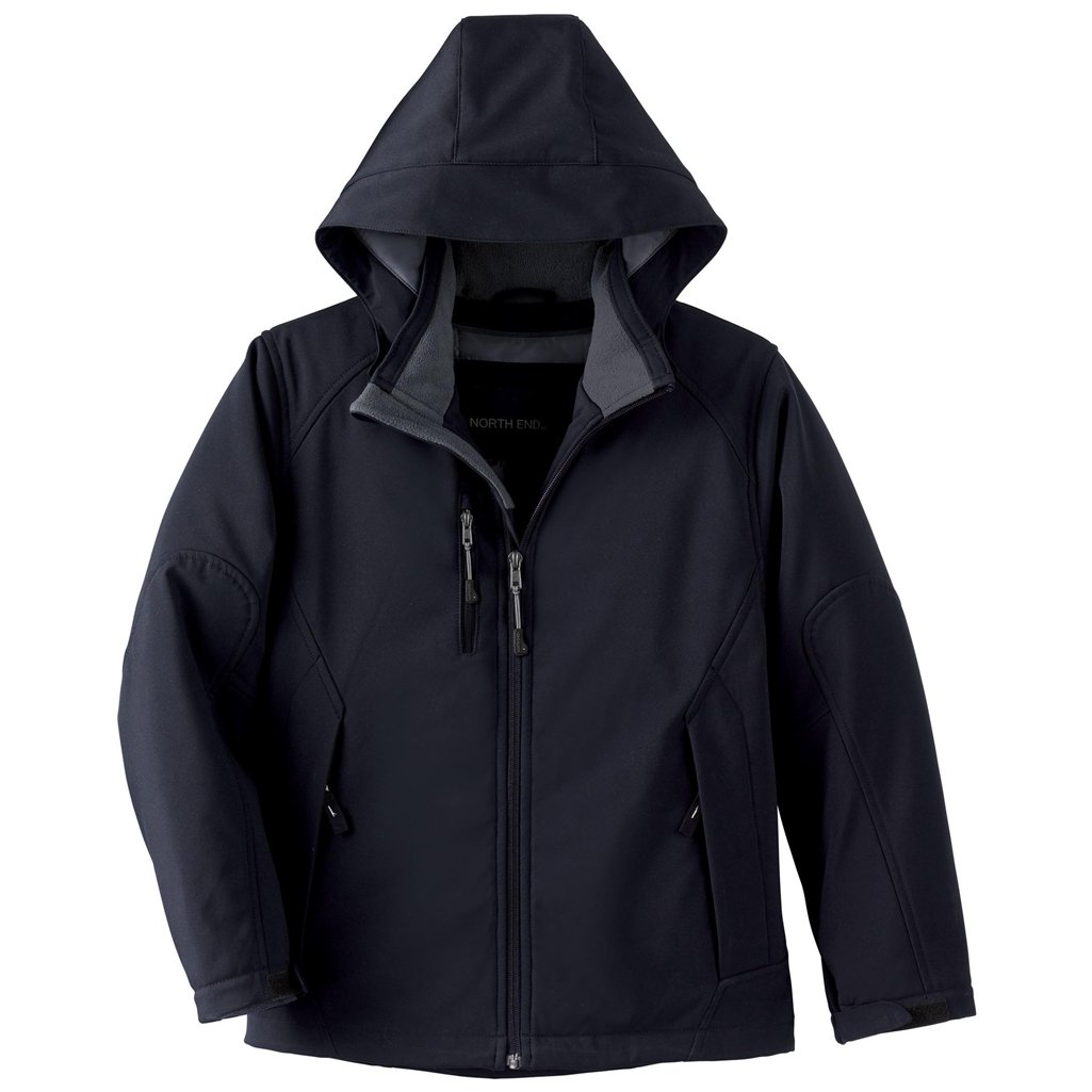 Ash City Glacier Youth Insulated Soft Shell Jacket (Small, Black)