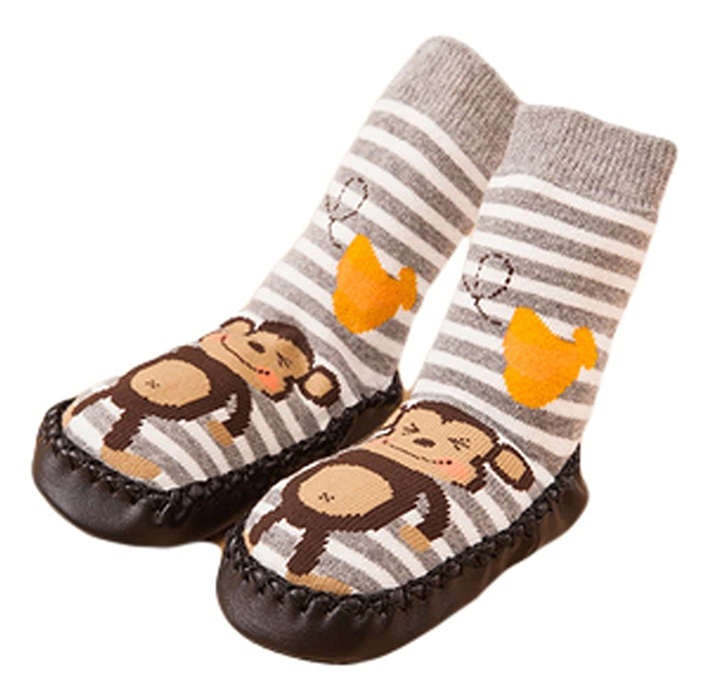 Cute Baby Boys Girls Toddlers Moccasins Non-Skid Indoor Shoes Socks Monkey