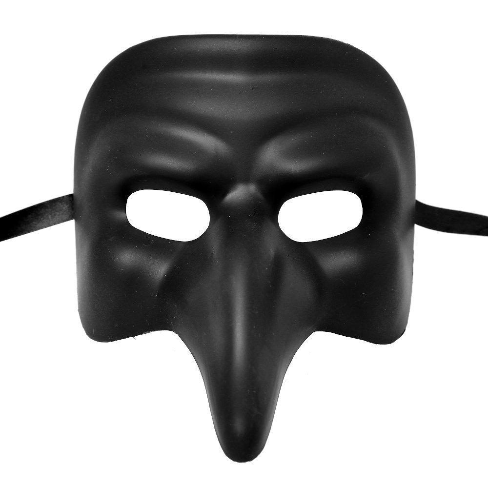 Roman Full Face Phantom of Opera Masquerade Long Nose Mask - Metallic Black