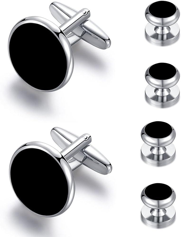 HONEY BEAR Boutons de manchette noir onyx Lot de 6 en acier inoxydable pour hommes chemises Smoking de cadeau de mariage argent/é Ours et clous Miel