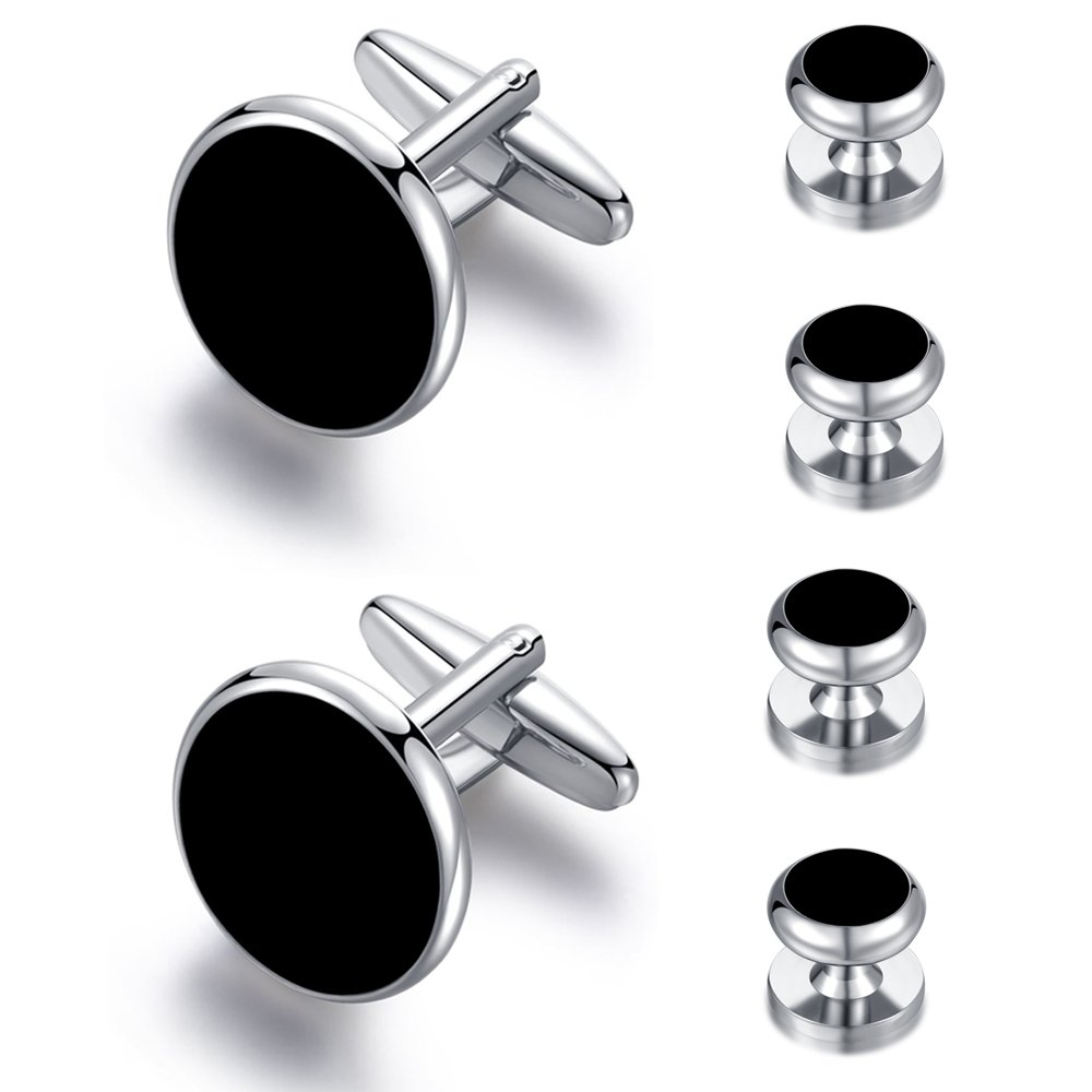 Black Onyx Honey Bear 6pcs Set Cufflinks and Studs Silver for Men Shirts Tuxedo Wedding Gift