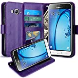 J3 Case, Express Prime Case, Amp Prime Case, LK Luxury PU Leather Wallet Case Flip Cover with Card Slots & Stand For Samsung Galaxy J3 / Express Prime / Amp Prime, PURPLE