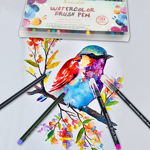 Book Cover Watercolor Brushes : Soucolor colors watercolor brush marker pens w a water