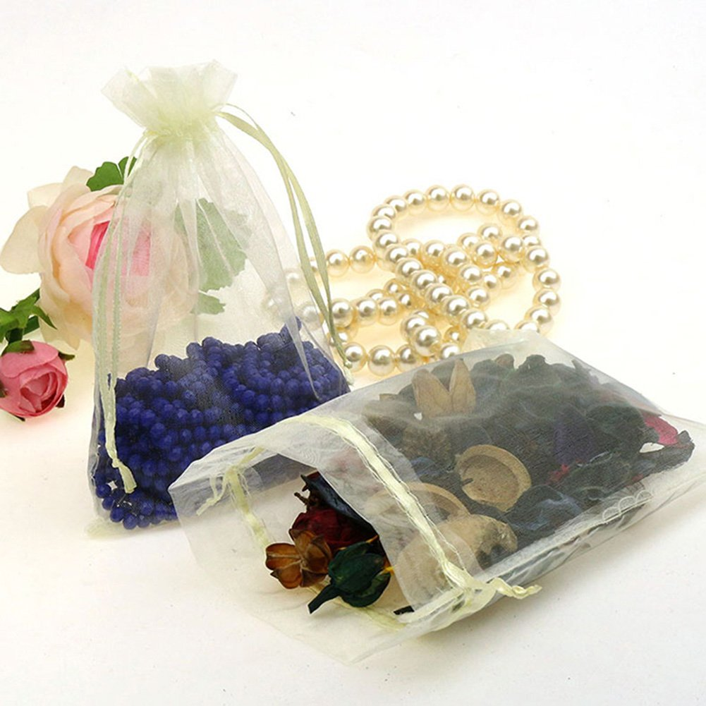 CMAJOR Organza Bags 100pcs Satin Drawstring Wedding Favor Jewelry Candy Watch Party Gift Pouch (4'' x 6'', Beige)