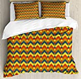 Chevron Duvet Cover Set King Size by Lunarable, Retro Geometric Rhombus and Zigzag Pattern Colorful Abstract Modern Expressionist, Decorative 3 Piece Bedding Set with 2 Pillow Shams, Multicolor