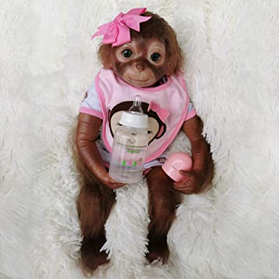 Wamdoll 20 inches 51CM Realistic Lifelike Reborn Monkey Baby Dolls Weighted Body Very Soft Silicone Vinyl Collectible Flexible Doll Feel Real: Toys & Games