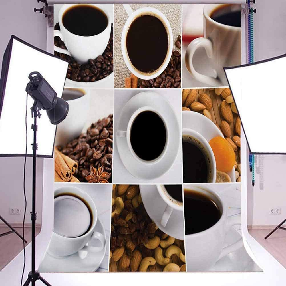 Kitchen 10x15 FT Backdrop Photographers,Coffee Mugs Collage with Almonds Cashews Beans Cinnamon Modern Composition Background for Baby Birthday Party Wedding Vinyl Studio Props Photography