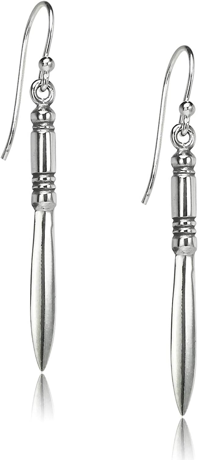 Big Apple Hoops - Dangling Sword Dangle Earrings Made from Genuine Solid 925 Sterling Silver Oxidized Finish Lightweight and Unique Design