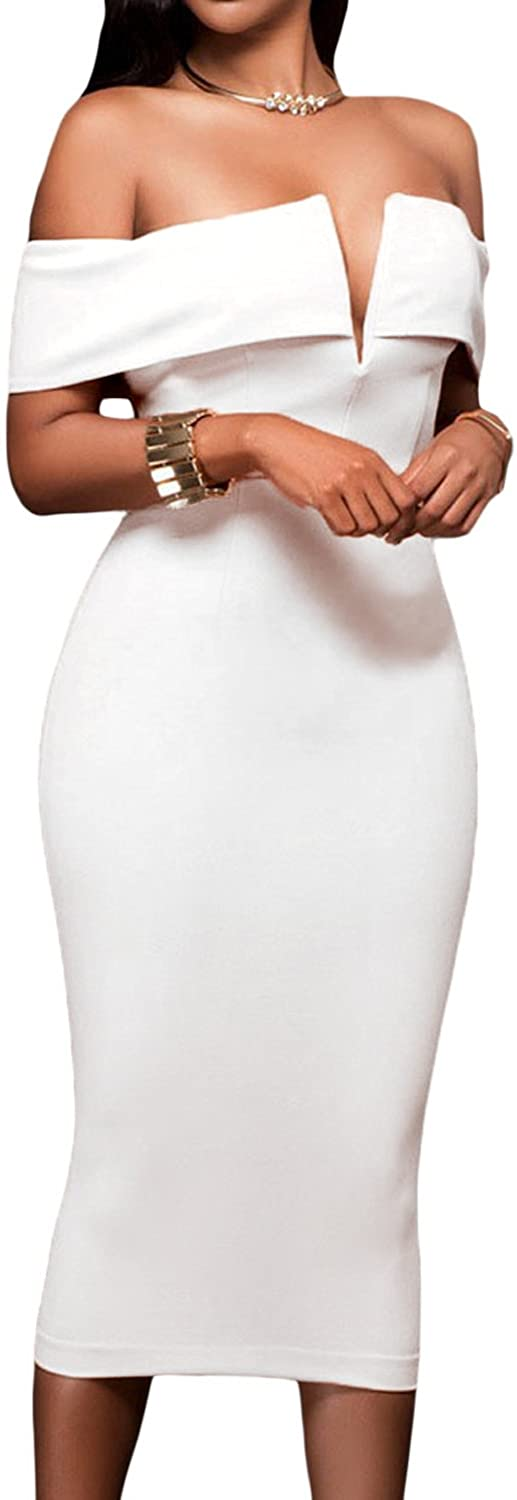 AlvaQ Women's Sexy V Neck Off The Shoulder Evening Bodycon Club Midi Dress