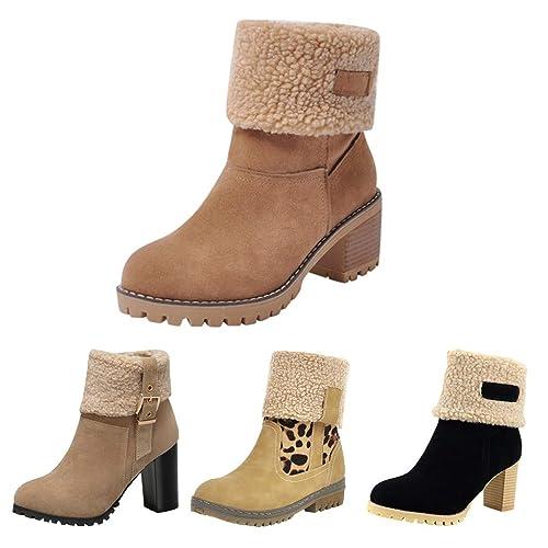 MrTom Botas de Nieve Mujer Invierno Forro Calentar Plataforma Botines Mujer Ante con Cuña Botín Corto Tacon Ancho Calzado de Trabajo Zapatos Casual ...