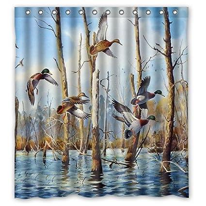 Amazon Shower Curtain Waterproof Bath Mandarin Duck