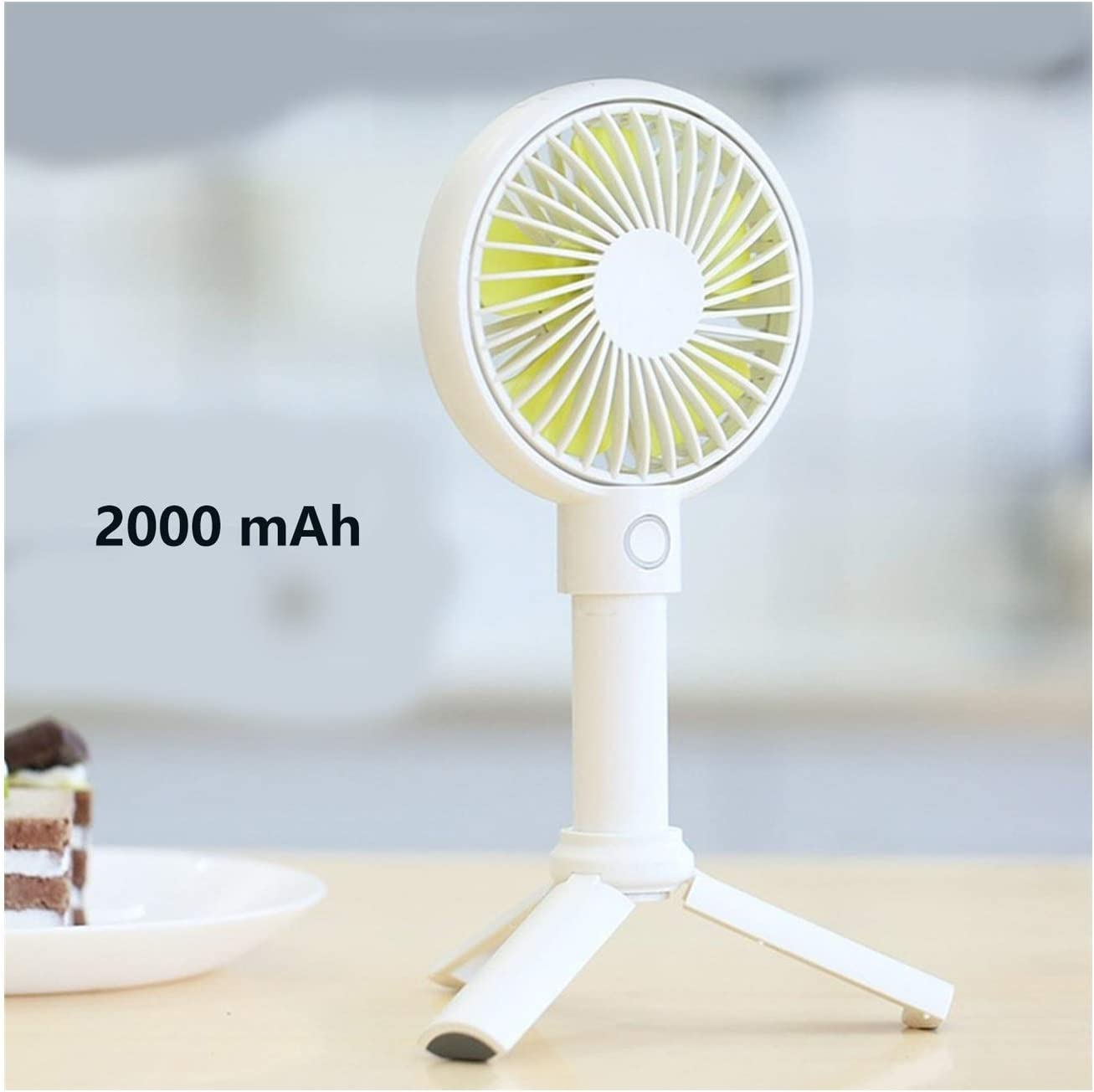 XIAOF-FEN Mini Fan Student Charging USB Handheld Fan Silent Portable Fan Dormitory Triangular Support USB Fan Color : Yellow, Size : 2000mAh Battery