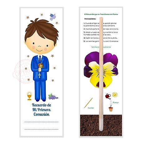 Detalles y Recuerdos de Comunión Para Invitados - Marcapáginas y Lápiz Con Semillas Para Plantar -