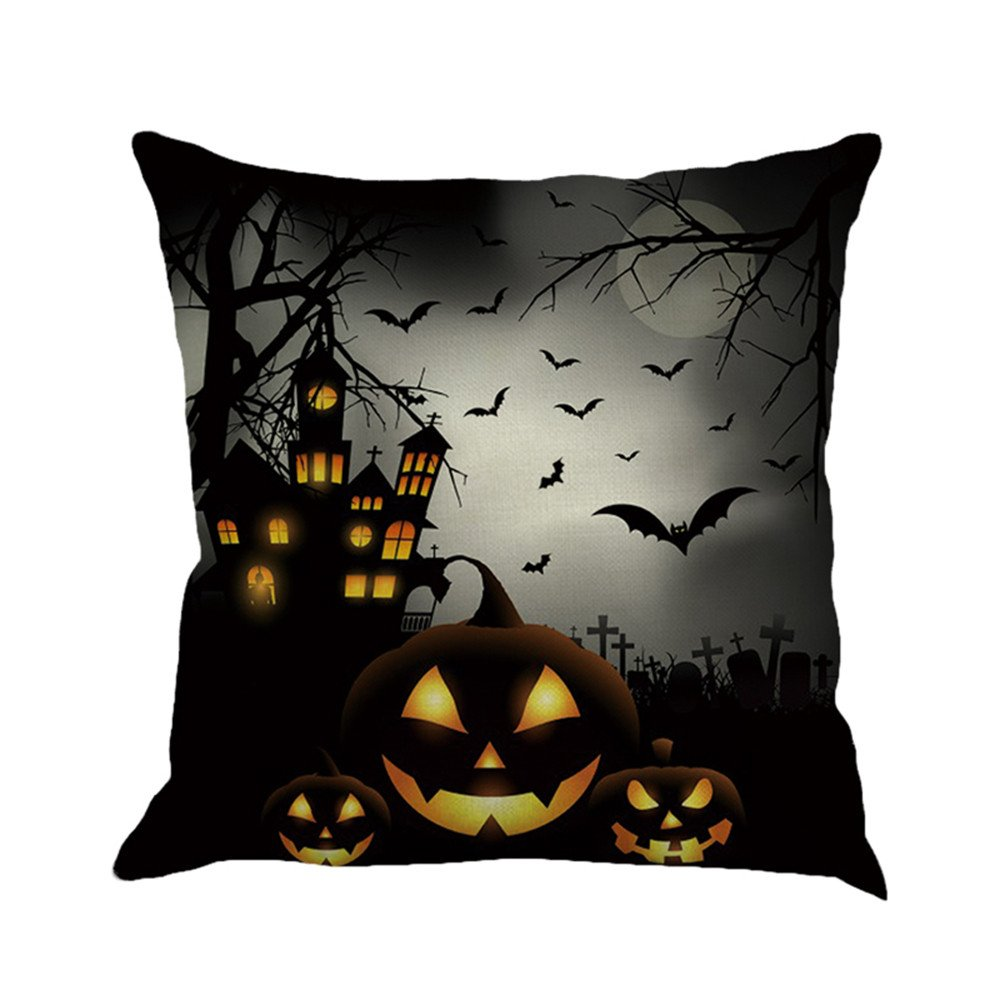 Napoo Happy Halloween Pillow Cases, 2018 Printed Flax Square Funny Pumpkin Castle Bat Owl Pattern Pillow Shams Sofa Throw Cushion Pillow Cover Cases 18x18 (A)