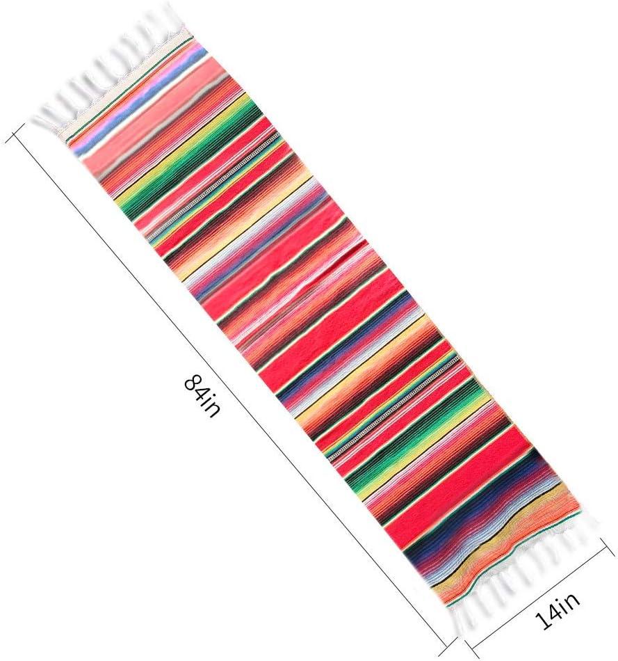 d/écorations de f/ête de mariage mexicaines franges en coton rouge et blanc Senmubery Lot de 2 chemins de table mexicains de 35,6 x 213,6 cm